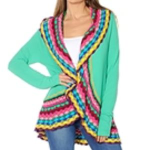 Sweaters - Vibrant Colorful Crochet-edged Cardigan